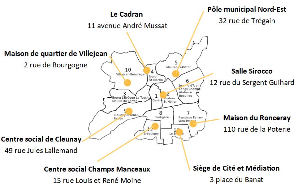 Carte des permanences Cité et Médiation - Rennes