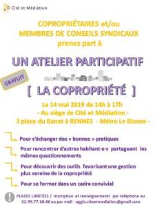 Flyer invitation Atelier Copropriété Cité et Médiation 14-05-2019